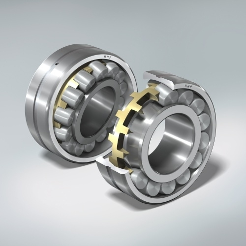 NSK's vibrating screen series of spherical roller bearings, showing the brass cage